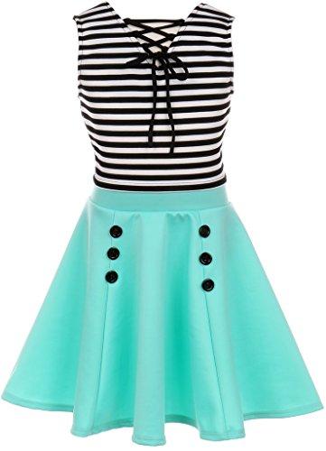 Little Girl Sleeveless Striped Dress Set Crop Top Easter Casual Flower Girl Dress (20JK74S) Mint 4