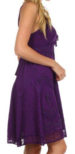 Sakkas Stonewashed Rayon Adjustable Spaghetti Straps Mid Length Dress