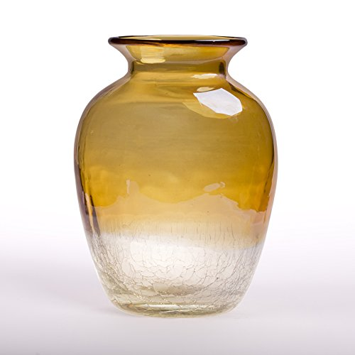 Glitzhome Hand Blown Two Tone Tabletop Art Glass Vase 9.06 Inch, Amber (Hand Made Vase compare prices)