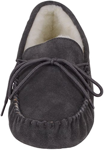 Mens Sheepskin Moccasin Soft Lining Suede Sole Grey Wool SNUGRUGS Slippers OqZnSFvdFw