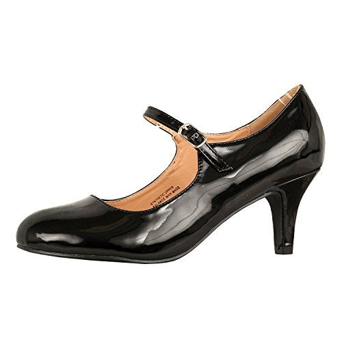 Classic Mary Jane Shoes (Guilty Shoes Womens Classic Mary Jane - Vintage Cute Low Kitten Heel - Round Closed Toe - Elegant Pumps-Shoes, Black Patent, 6)