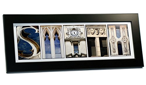 Architectural Black White Photos (Creative Letter Art - Personalized Framed Name Sign with Black & White Architectural Stone Alphabet Photographs including Black Self Standing Frame)