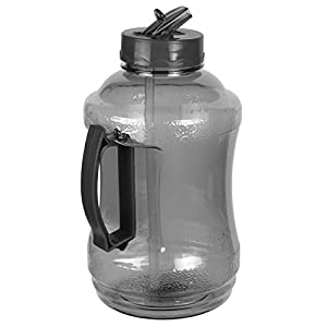 Go Green Sport 57 oz - 1.68 Liter Water Bottle Jug with Handle and Flip Sip and Straw (Black)