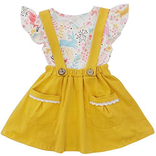 So Sydney Suspender & Skirt 2 Piece Outfit, Girls Toddler Spring Easter Holiday Dress Up Boutique Outfit Clothes (8 (XXXL), Bunny Vintage Yellow)