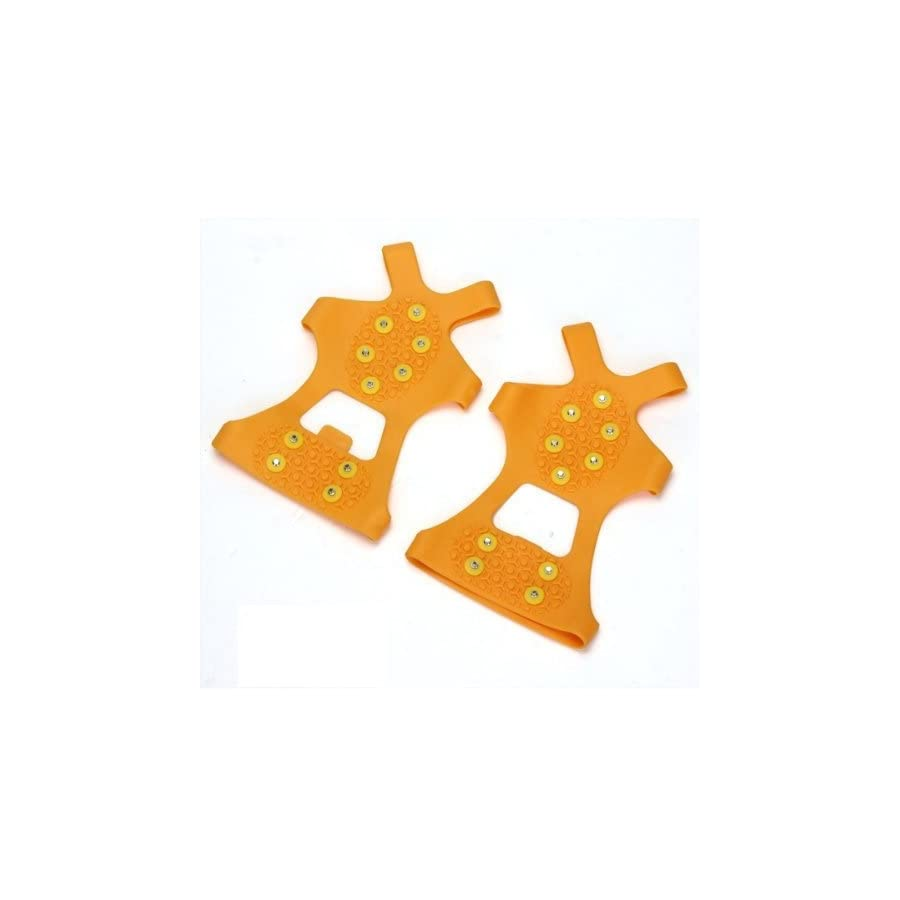 GQMART Pair Crampons Anti Skid Over Shoe Spikes Grips Cleats Portable Ice Snow Orange L