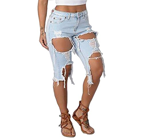 Light Blue M Womens Sexy Colorful Hole Destroyed Ripped Sexy Shorts Denim Pull-on Hot Pants Mid Rise Jeans Low Waist (Low Rise Mid Rise Jeans)