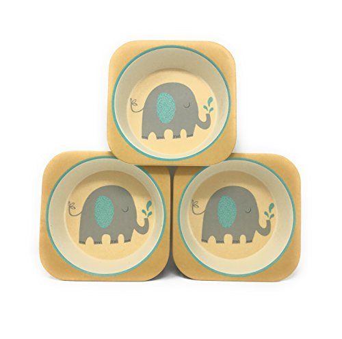 Bamboo Bowls - 3 Pack Eco Friendly Kids Bowls - Stackable - Choice of Monkey, Elephant Or Giraffe Pattern (Elephant)