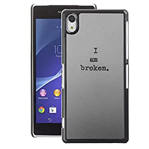A-type Arte & diseño plástico duro Fundas Cover Cubre Hard Case Cover para Sony Xperia Z2 (I Am Broken Deep Dark Depressed Sad)
