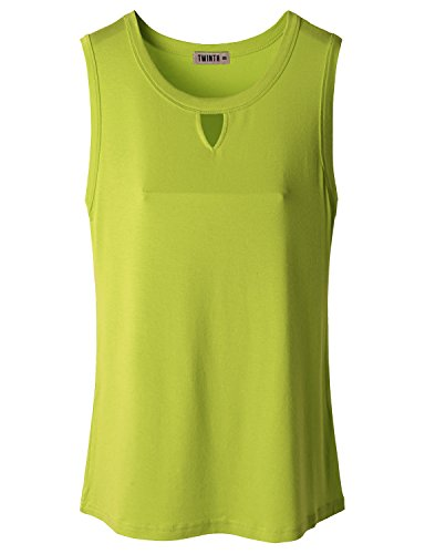 Doublju Womens Basic Crewneck Keyhole Front Tank Top LIME 3XL