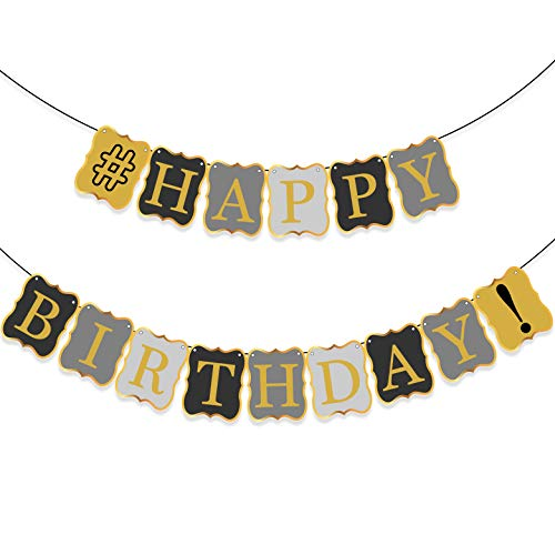 VINTAGE HAPPY BIRTHDAY BANNER DECORATIONS - Classy Black and Gold Birthday Bunting Banner Sign | Birthday Decorations for Men or Adult Party | Birthday Party Supplies for 21st 30th 40th 50th 60th Bday
