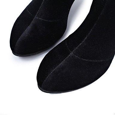 XIAMUO Nicht anpassbar - Die Frauen tanzen Schuhe Wildleder Wildleder Latin/Jazz/Tanz Stiefel niedrig Ferse Performance Schwarz, Schwarz, EU/US8.5 39/UK6.5/CN 40