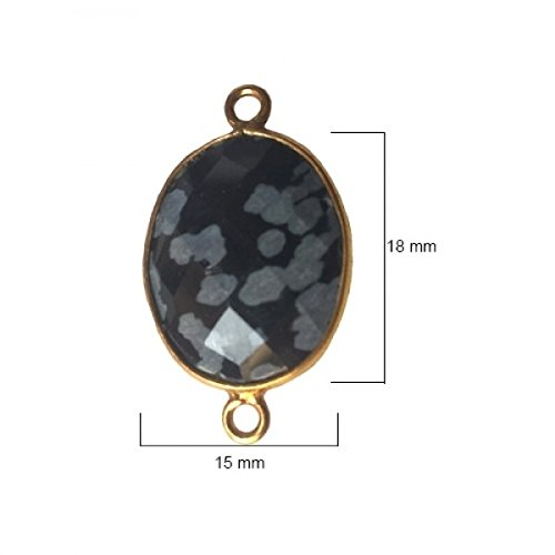 Snowflake Obsidian Oval 15X18mm by BESTINBEADS I Snowflake Obsidian Oval Bezel I Snowflake Obsidian Oval Pendant Pendant Gold I Bezels Connectors I Snowflake Obsidian Oval Cabochon