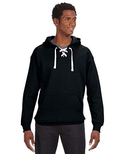 J. America Adult Comfortable Sport Lace Hooded Sweatshirt, Blk, Large