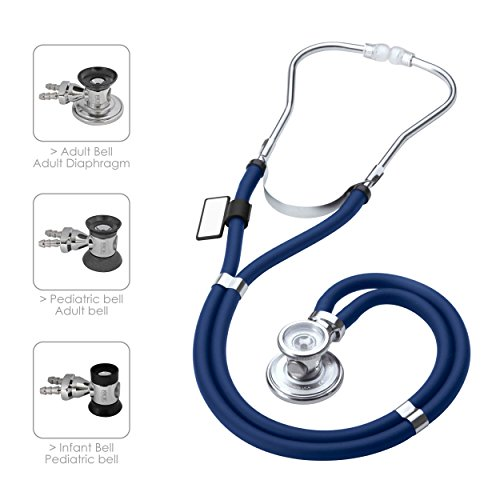 (MDF  Sprague Rappaport Dual Head Stethoscope with Adult, Pediatric, and Infant convertible chestpiece - Free-Parts-for-Life & - Royal Blue (MDF767-10))