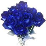 10 blaue Rosen - langstielig und vasenfertig