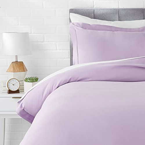 AmazonBasics Light-Weight Microfiber Duvet Cover Set - Twin/Twin XL, Frosted Lavender