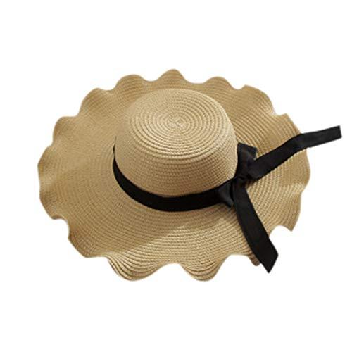 iPOGP Straw Hat Women Wide Brim Bowknot Stripe Floppy Foldable Roll up Beach Cap Summer Sun Protection Hat (Beige,Free)