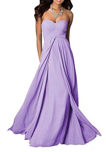 Jugendweihe Abendkleider Partykleider mia Kleid La Traegerlos Empire Brautjungfernkleider Kleider Chiffon Braut Lilac Y7qIf