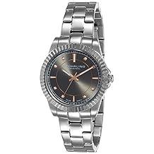 Stuhrling Original Women's 408LL.03 Symphony Swiss Quartz Crystal Accented Dial Stainless Steel Link Bracelet Watch