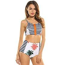 Ekouaer Women's Coconut Tree Print High Waist Bikini Set Bathing Suit