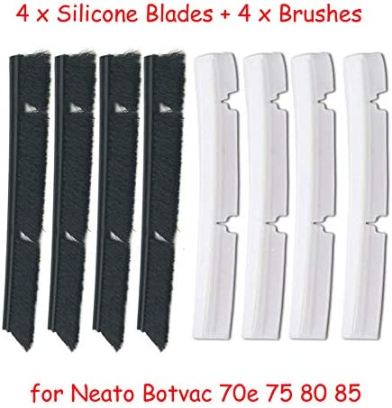 Vaorwne 4xSilicone Blades+4xBrushes Replacement for Neato Botvac 70e 75 80 85 All D-Series Connected Vacuum Cleaner Parts Accessories,Replacement Brush Bar Parts Kit Vacuum Cleaner Blade Accessory