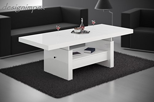 Affordable Design Couchtisch H Wei Hochglanz Schublade Ausziehbar Tisch  Amazonde Kche U Haushalt With Couchtisch 50 Hoch