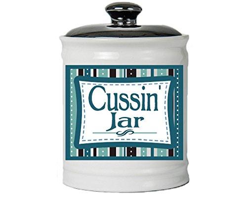 Cottage Creek Swearing Gifts Swear Jar Round Cussin' Jar Ceramic Swearing Piggy Bank I Swear Cussing Coin Bank/Dad Gifts [White]