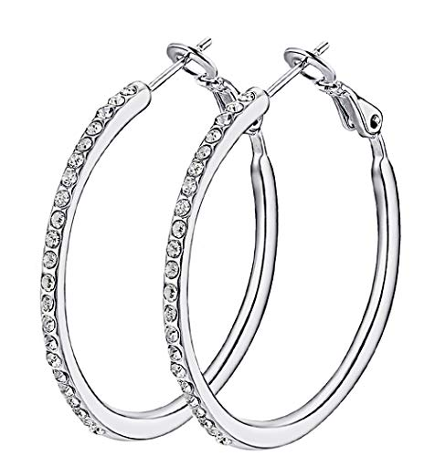 Hoop Earrings, Cubic Zirconia White Gold plated Hoop Earrings For Womens, Rhinestone Girls Jewelry ()