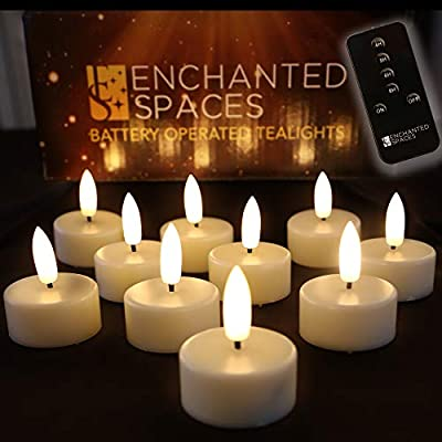 Set of 10 Flameless LED Ivory Tealights Candles Featuring Realistic Black Wick with Daily Timer, Remote Control and 10 Batteries