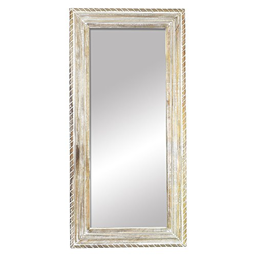 Indian Heritage Mirror 29x60 Carved Wooden Frame in White Distress Finish
