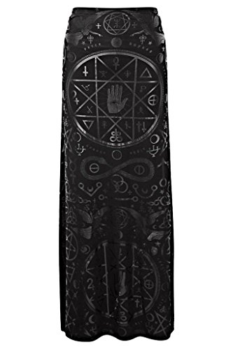 Killstar Occult Witch Pentagram Wiccan Witchcraft Gothic Cult Maxi Long Skirt  S