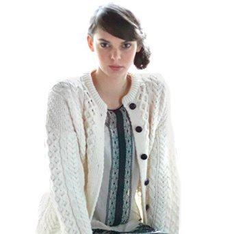 Irish Fisherman Sweater Ladies 100% Merino Wool White, Small