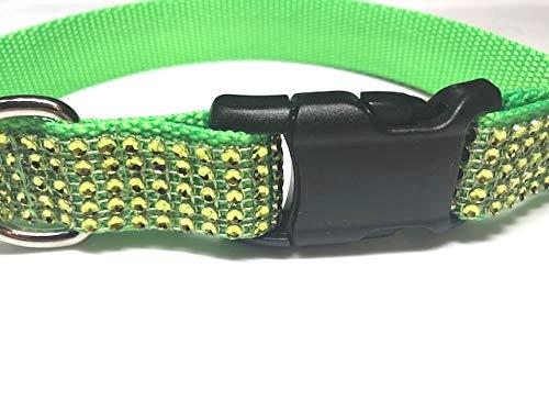 Big Pup Pet Fashion Fancy Neon Green Rhinestone Dog Collar, Sparkly, Bling, Glam Dog Collar for Girl (M 1