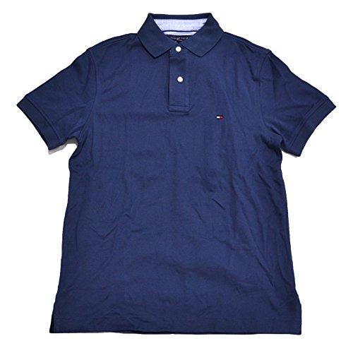 Tommy Hilfiger Mens Custom Fit Interlock Polo Shirt (Faded Blue, Large)