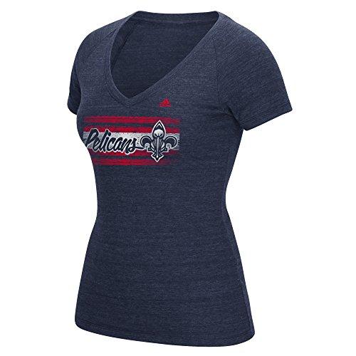 fan products of NBA New Orleans Pelicans Women's Woodgrain Stripe Tri-Blend V-Neck Tee, XX-Large, Navy