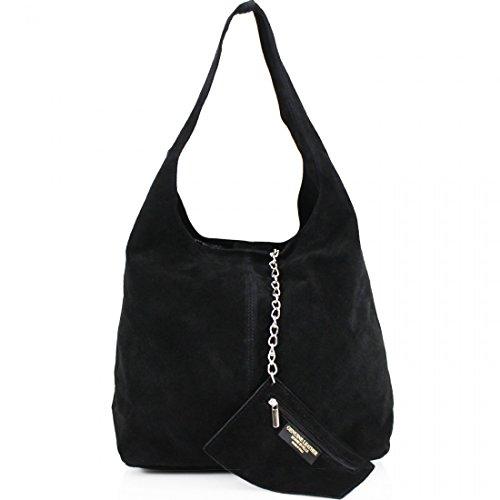 Black Suede Shoulder Bag - unbrand Ladies Women Real Suede Leather Hobo Shoulder Handbag (Black), Medium