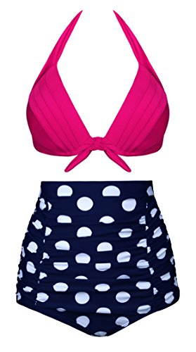 Angerella Vintage High Waisted Bikinis Swimsuits Swimwear (SST017-R2-5XL),Rose red (Dot),US16-18=Tag Size (Flip Flops With Flower)