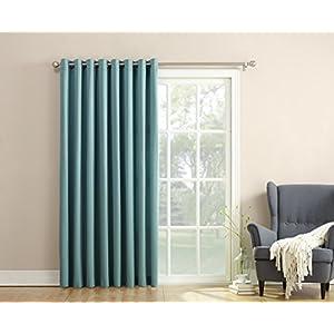 Sun Zero Barrow Extra Wide Energy Efficient Grommet Patio Door Curtain Panel, 100 x 84 Inch, Mineral