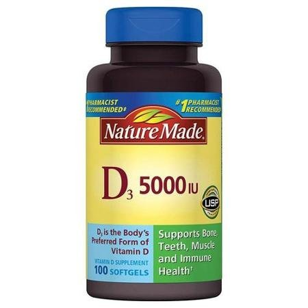 Nature Made Vitamin D3 Dietary Supplement Softgels, 5000 I.U., 100 count (Nature Made Vitamin D3 5000 Iu compare prices)