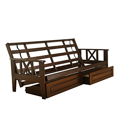 Jerry Sales Full Size Montreal Espresso Futon Frame only Hardwood Sofa to Bed Choice to add Drawers (Frame with Drawer set)