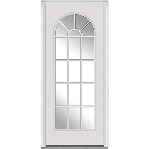 National Door Company Z000325R Fiberglass Smooth Primed, Right Hand In-swing, Prehung Front Door, Full Lite Round Top, Clear Glass, 32