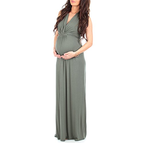 Womens Ruched Maternity and Nursing Maxi Dress with Adjustable Waist Tie in Regulars and Plus Sizes - Made in USA