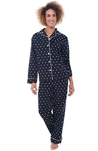 Alexander Del Rossa Women's Lightweight Button Down Pajama Set, Long Cotton Pjs, Medium Black and White Polka Dot (A0517V16MD) (Friends And Family White House Black Market)