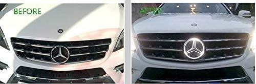 Mercedes Benz LED Emblem White Light Drive Brighter Illuminated Logo Hood Star DRL for Mercedes Benz A B C E R GLK ML GL CLA CLS Class 2013-2015,Car Front Grille Badge