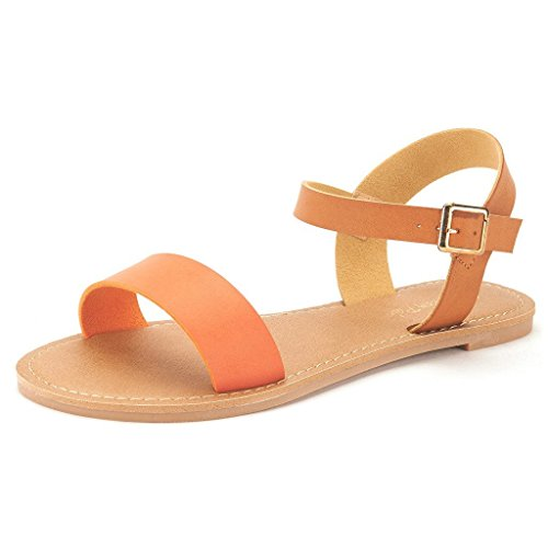 DREAM+PAIRS+HOBOO+Women%27s+Cute+Open+Toes+One+Band+Ankle+Strap+Flexible+Summer+Flat+Sandals+New+Orange+Tan+Size+10