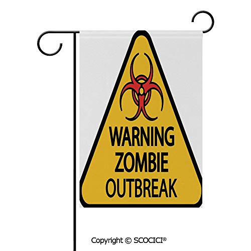 SCOCICI Double Sided Washable Customized Unique 28x40(in) Garden Flag Warning Zombie Outbreak Sign Cemetery Infection Halloween Graphic Decorative,Earth Yellow Red Black,Flag Pole NOT Included]()