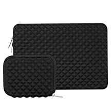 Mosiso Laptop Sleeve for New MacBook Pro 13 Inch 2017 / 2016 (A1706 / A1708) / Surface Pro 2017 / Surface Pro 4 / 3 with Small Case, Shock Resistant Diamond Foam Water Repellent Lycra Bag, Black
