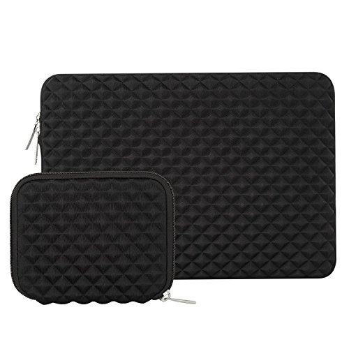Mosiso Shock Resistant Diamond Foam Water Repellent Lycra Laptop Sleeve Bag Cover for 13-13.3 Inch MacBook Pro/Air,Notebook with Small Case, Black (Top Neoprene Notebook Black Loading)