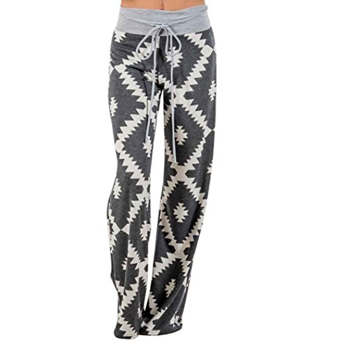 Han Shi Long Palazzo Pants, Women Geometry Printing Drawstring Casual Wide Leg Leggings (L, Multicolor)