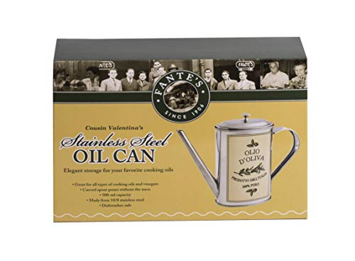 (Fantes Olive Oil Can, 18/8 Stainless Steel, 500-Milliliter Capacity, The Italian Market Original Since 1906)